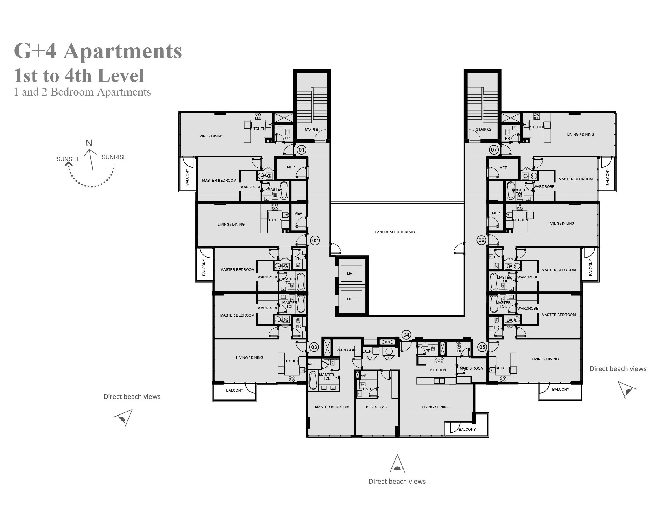 G+4 Apartments 1st - 4th Level - 1 and 2 Bedroom Apartments